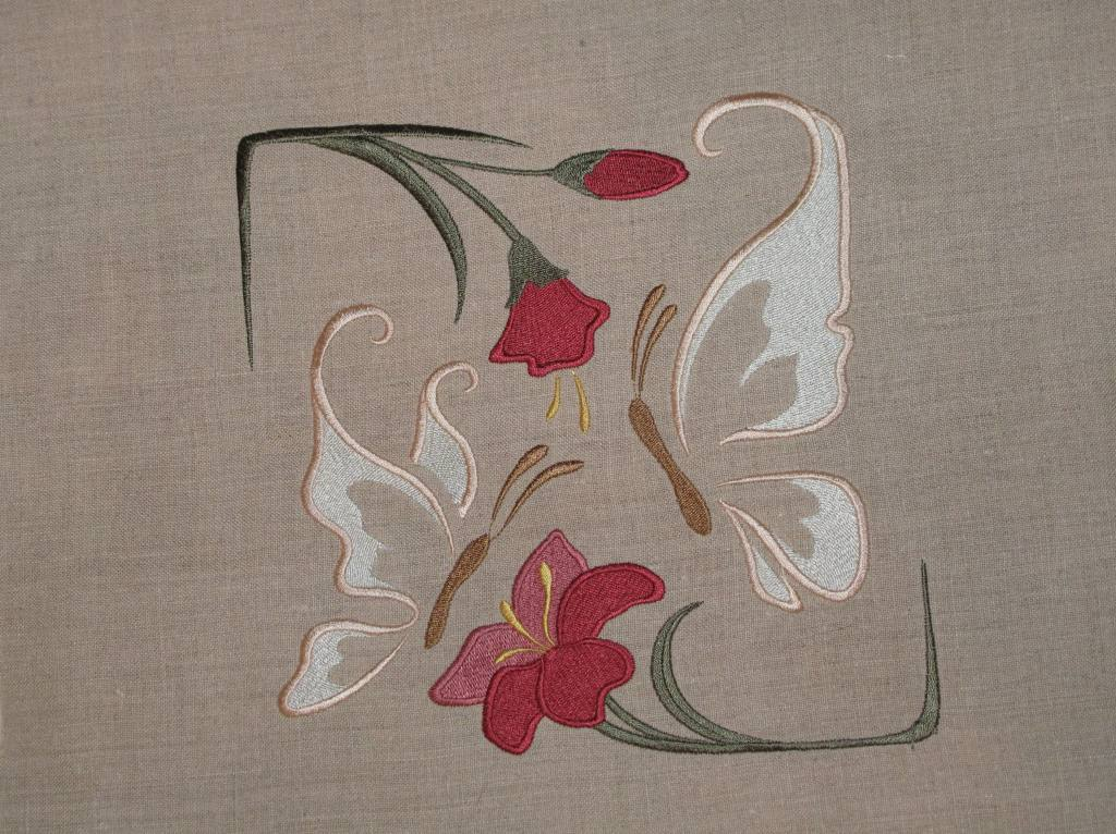 Butterfly Embroidered On Linen Embroidery Library