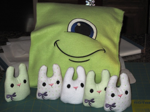 Urban Threads Bunnies with Monster Factory face