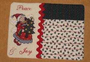 Cross stitch angel mug rug