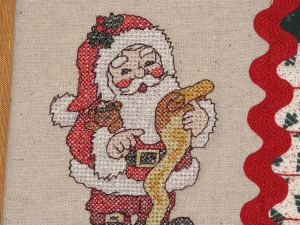 Cross stitch Santa close