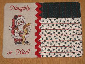 Cross stitch Santa mug rug