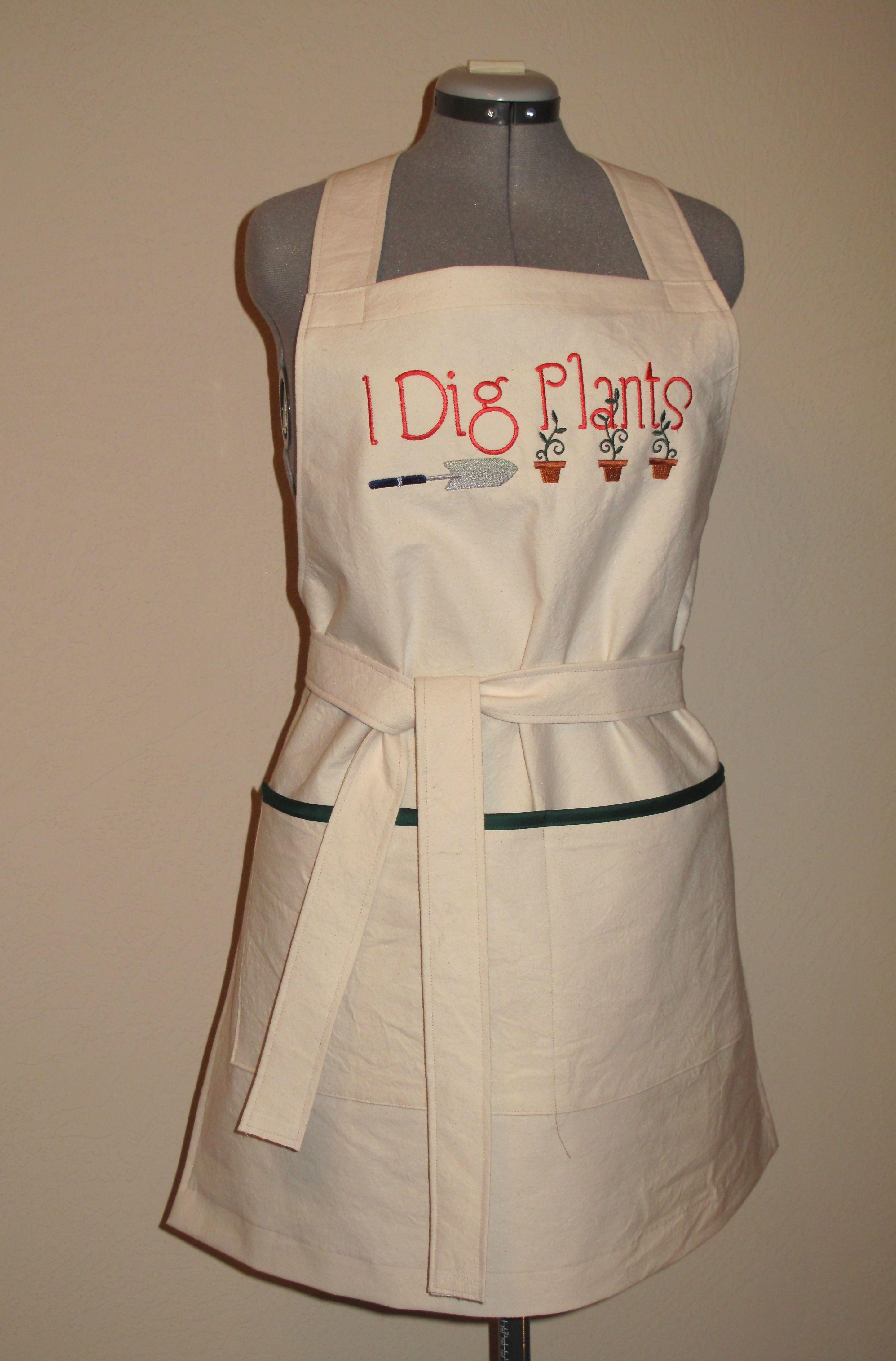 White apron joann fabrics - Mg I Dig Plants Embroidered Apron