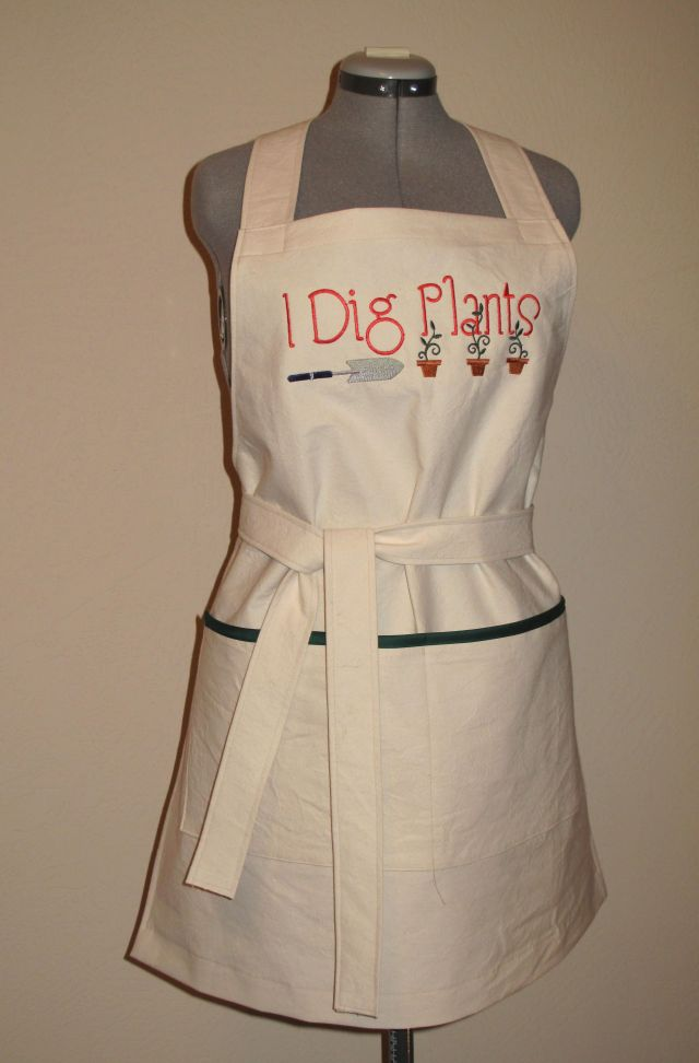 mg I dig plants embroidered apron