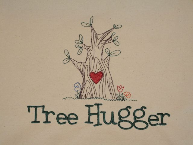 Embroidered Tree Hugger Bag