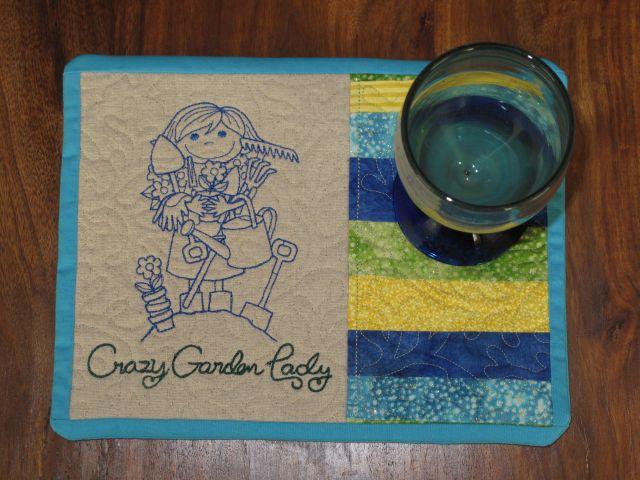 Turquoise Crazy mug rug