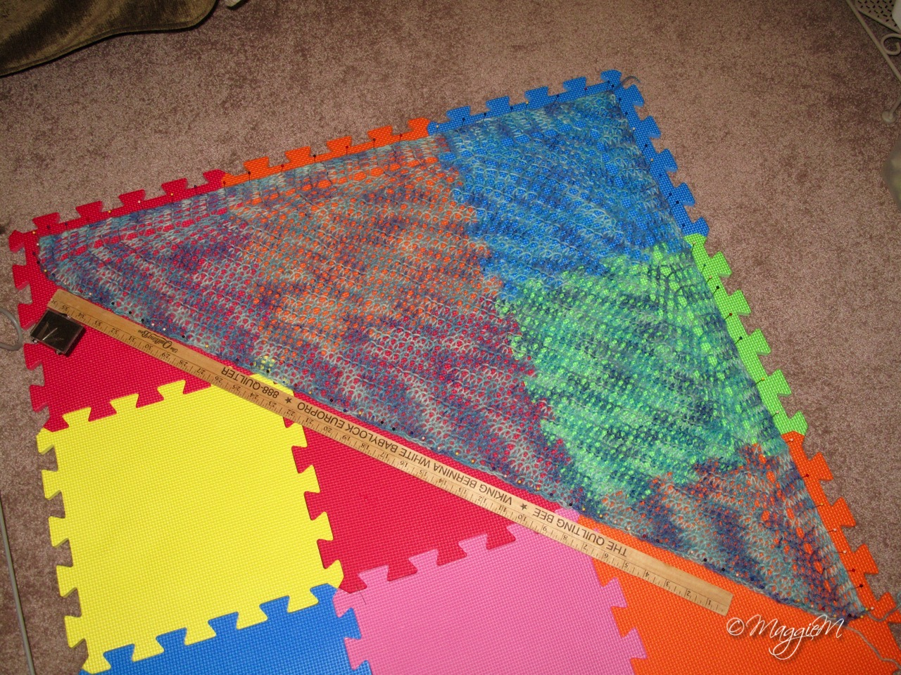 Icy shawl blocking